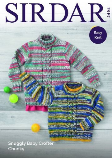 Sirdar 2494 Sweaters Knitting Pattern in Snuggly Baby Crofter Chunky